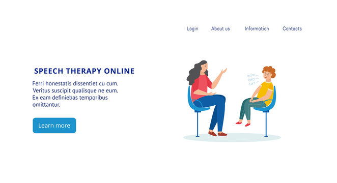Online speech therapy website banner with cartoon child and teacher