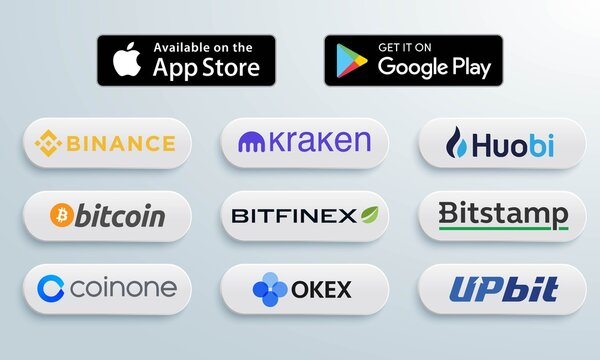 Vecor illustration of 3D buttons of popular cryptocurrency spot exchanges. For editorial use.