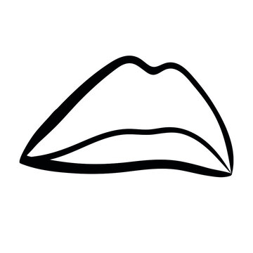 vector linear drawing of the lip. Doodle symbol for beauty products. isolated object mouth.
