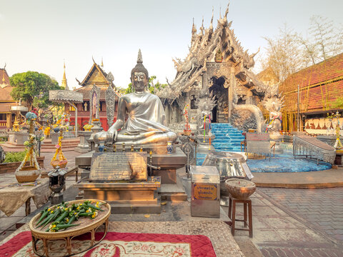 Chiang Mai, Thailand - Mar 17, 2019: Wat Sri Suphan is also known as the Silver Temple because of its impressive hand crafted silver decoration.