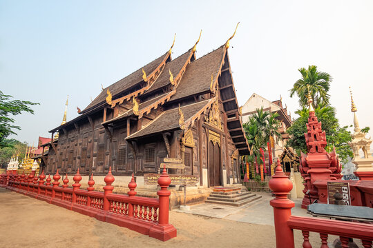 Chiang Mai - Mar 16, 2019: Wat Phan Tao is a beautiful wooden temple sitting next to the famous Wat Chedi Luang Temple.