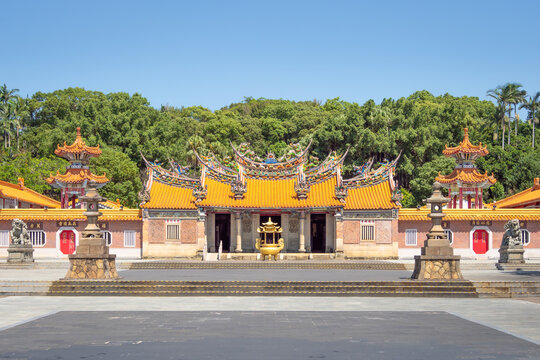 Hsinchu, Taiwan - Oct 2, 2020: Baojhong Yimin Temple is the center of the Hakka folk religion developed to honor soldiers.
