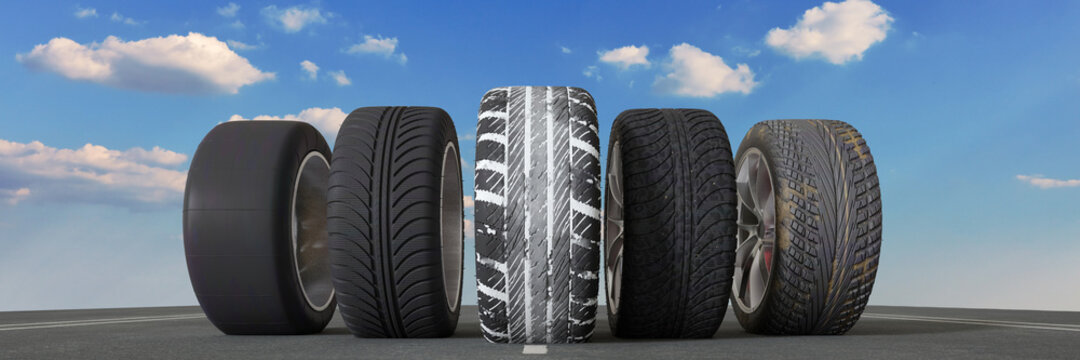 Different car tires for rain, snow and weather