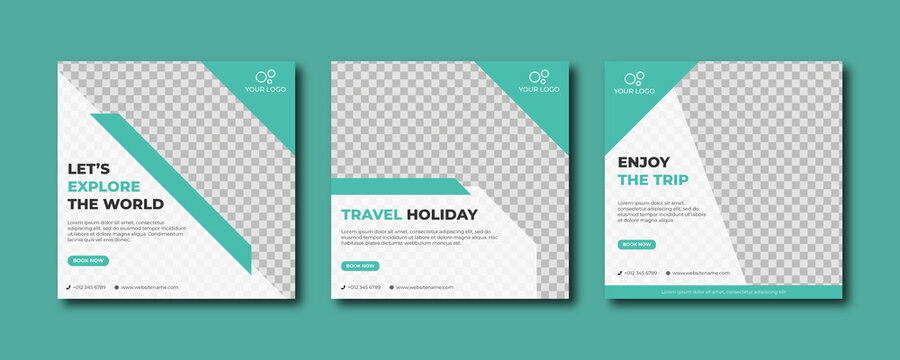 Travel holiday vacation social media post template