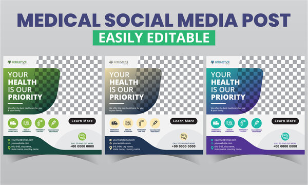 Medical Social Media Post Design premium layout for doctor & nurse promo.Morden abstract geometric social media Healthcare advertising template and square web banner digital marketing vector sets.