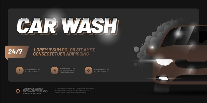 Vector layout with car. Design for advertising a car wash service. Adapt for poster, flyer, banner or social media.