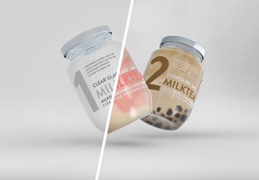 2 Floating Clear Glass Jars for Milk Tea or Milkshakes Packaging Mockup