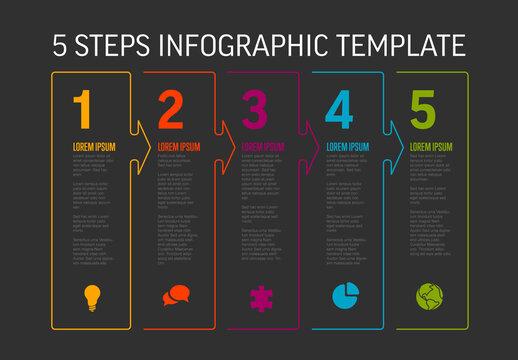 Five White  Arrow Shape Steps Process Infographic