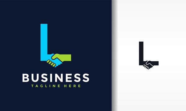 letter L shake hands logo