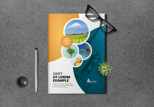 Business Bifold Brochure with Circle Elements