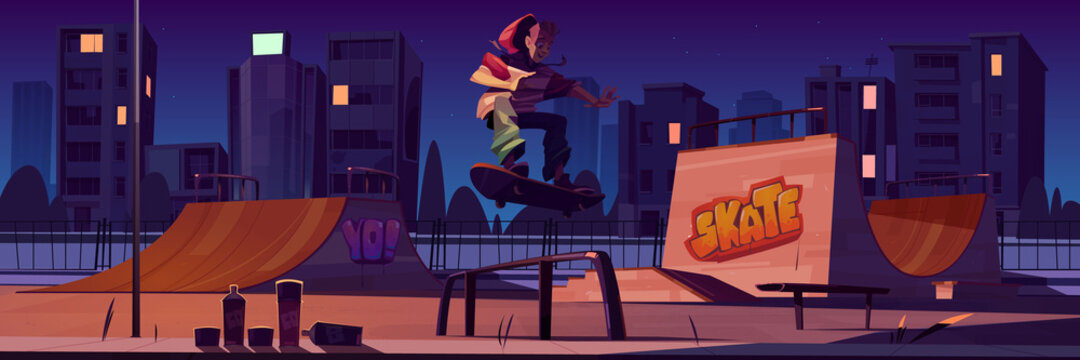 Skate park with boy riding on skateboard at night. Vector cartoon cityscape with ramps, graffiti on walls and teenager jump on track. Playground for extreme sport activity lit by street lamp