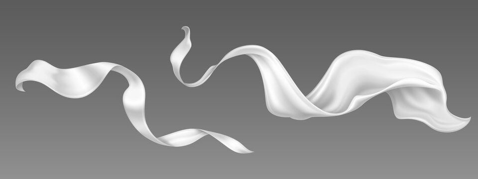 Flying white silk ribbon and satin fabric. Vector realistic set of billowing velvet clothes, scarf or cape in blowing wind. Luxury white textile drapery, flowing tissue isolated on grey background