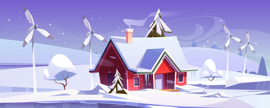 Winter landscape with house and wind turbines. Vector cartoon illustration of snowfall, ice rink, windmills and modern cottage with snow on roof. Eco friendly power generation, green energy concept
