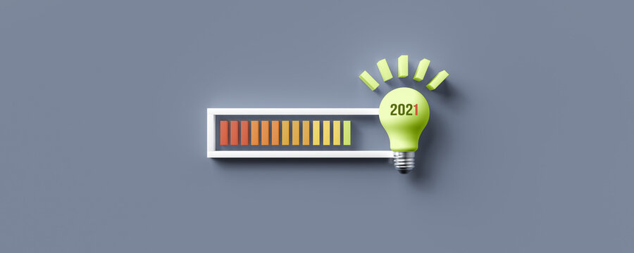 lightbulb and text 2021 with a loading bar indicator on grey-blue background