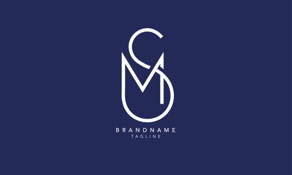 Alphabet letters Initials Monogram logo SM, MS, S and M