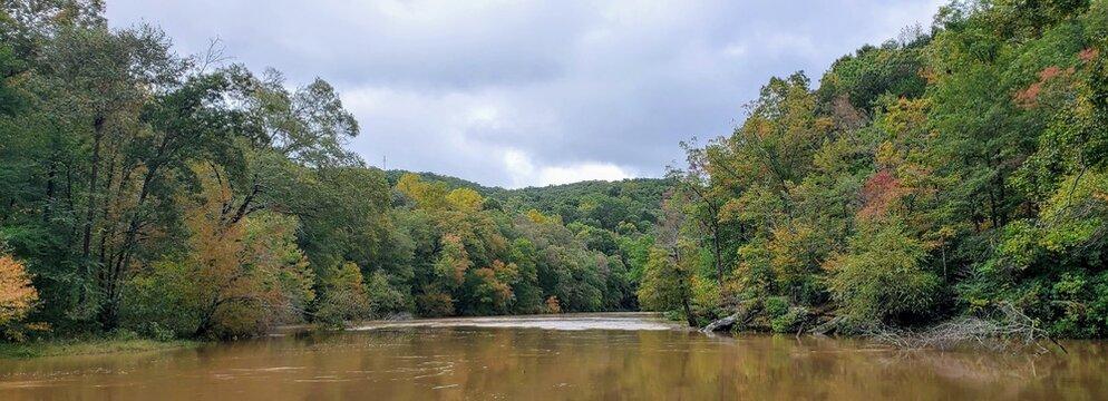 Sweet Water Creek State Park, Lithia Springs Georgia.  River view, fall leaves.