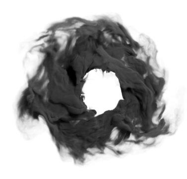 Circle of smoke. Circle made of black smoke close-up on a white background.