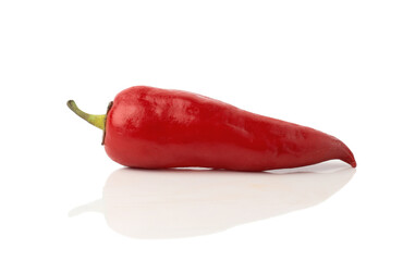 Red hot chili pepper isolated on a white background, with shadow and reflection.