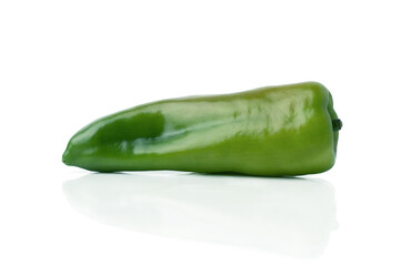 Green hot chili pepper isolated on a white background, with shadow and reflection.