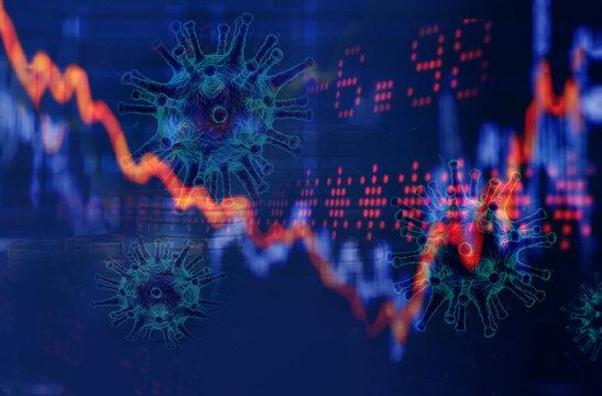 Economic crisis. 2020 coronavirus pandemic.. Business background multiple exposures.
