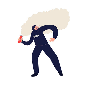 Police officer throwing the smoke bomb vector illustration. Law enforcement officer during the riot isolated on white background.