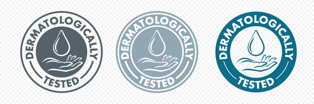 Dermatologically tested hand and drop icon, vector logo. Antibacterial alcohol or medical wash label, dermatology test safe proven sign for health certified and skincare products