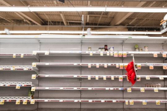 Empty grocery store shelves during the Coronavirus pandemic
