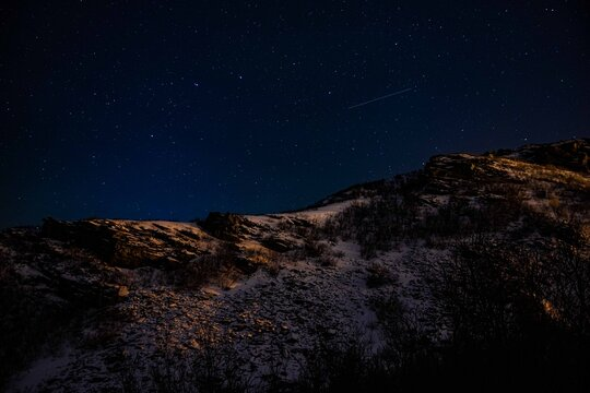 snow mountain and stars