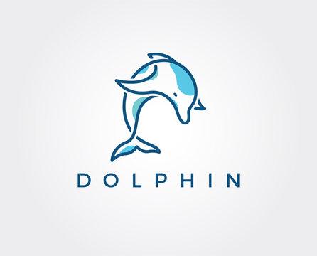 minimal dolphin logo template - vector illustration