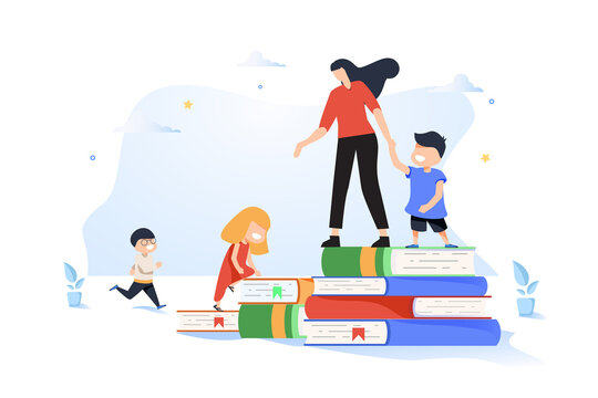 vector graphic elements, teaching children to acquire knowledge from books, educator teaches children, play