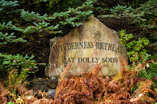 Davis, USA - October 5, 2020: Sign for Wilderness Retreat at Dolly Sods on stone rock in Monongahela National Forest