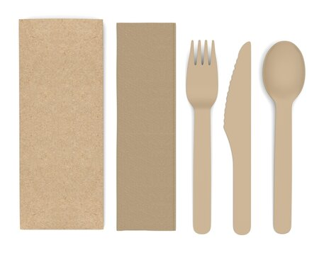 Bank Promotional Design Dinner Fork Knife And Spoon Flatware Set For Mockup And Branding. 3d render illustration.