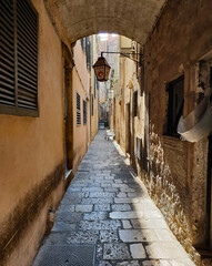 narrow street in the city of Dubrovnik