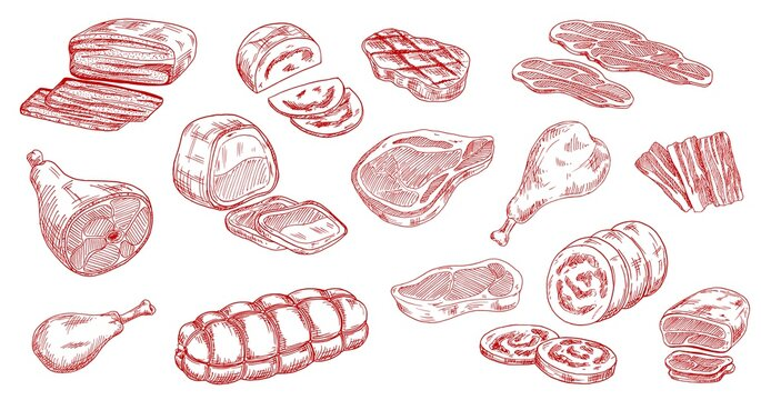 Pork sausage, veal beef and lamb steak sketches. Bacon, ham and jamon leg, meat roll, chicken or turkey legs, sirloin, brisket and mortadella engraved vectors set. Raw and processed meat products