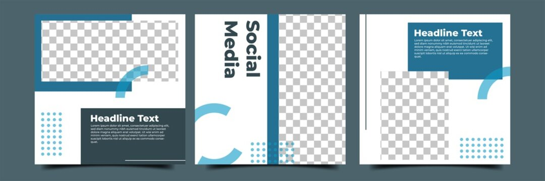 Set of editable square background. Modern social media post template with blue shape. Usable for social media post, story and web internet ads.