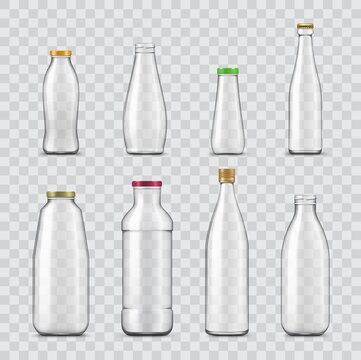 Bottle and jar realistic mockups of vector glass containers isolated on transparent background. Empty bottles for water, juice and milk drinks, sauce, yogurt, oil and soft beverages with metal caps