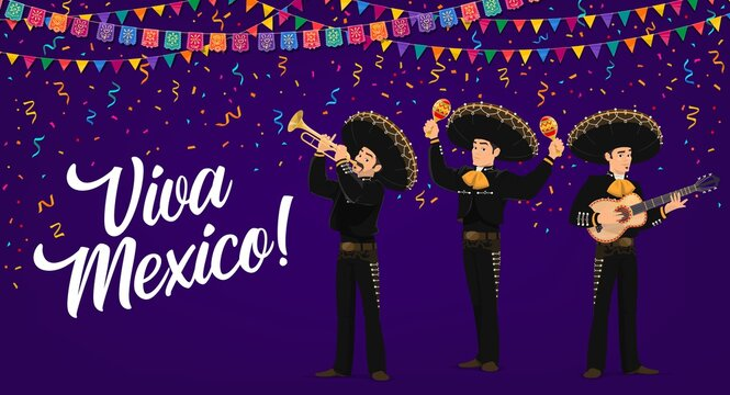 Viva Mexico vector banner. mexican Mariachi musicians band in sombrero and national costumes playing guitar, maracas and trumpet with flag garland and confetti. Cinco de Mayo fiesta party cartoon card