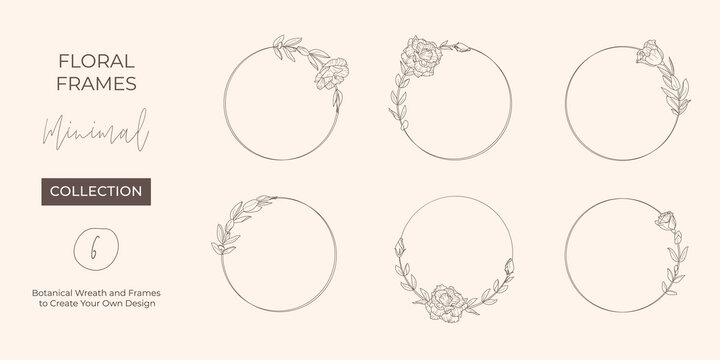 Set frame of Lisianthus Flowers and branches. Round icon in a trendy minimalistic linear style. Vector Floral logo.