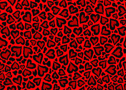 Red Leopard skin pattern design. Abstract love shape leopard print vector illustration background. Wildlife fur skin design illustration for print, web, home decor, fashion, surface, graphic design