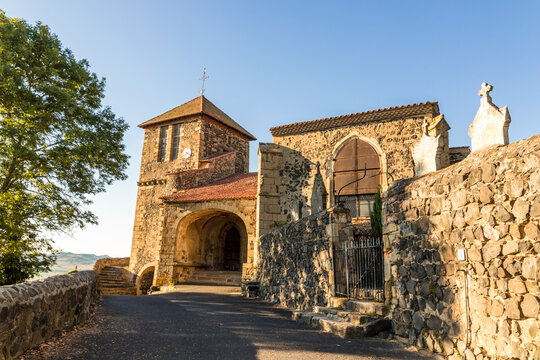 Usson, France. The Church of Saint Maurice, a Romanesque temple in Auvergne