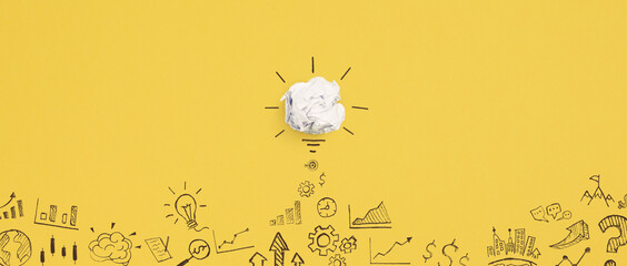 Creative idea with crumpled paper light bulb, Concept of idea, innovation, Inspiration and solution