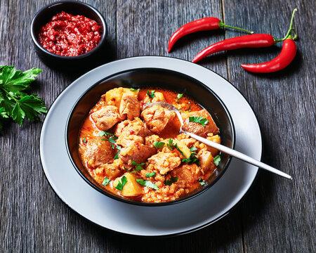 chicken arrabbiata stew with lentil and potato