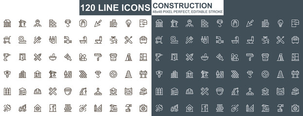 Obraz Construction thin line icons set. Construction site workflow and management unique design icons. Machinery and building equipment outline vector bundle. 48x48 pixel perfect linear pictogram pack. - fototapety do salonu
