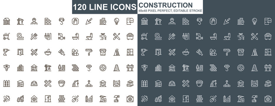 Construction thin line icons set. Construction site workflow and management unique design icons. Machinery and building equipment outline vector bundle. 48x48 pixel perfect linear pictogram pack.