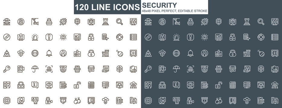 Security thin line icons set. Data protection, internet privacy unique design icons. Cybersecurity services, firewall and network safety outline vector bundle. 48x48 pixel perfect linear pictograms.