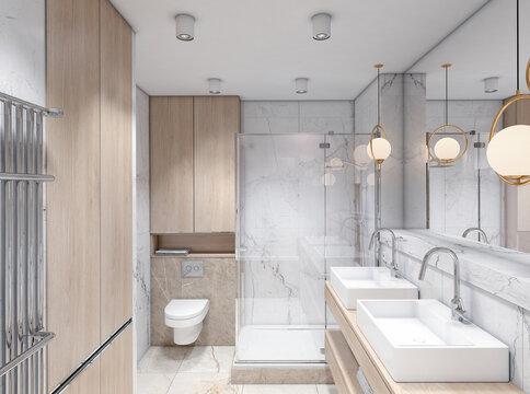 White classic Interior of a bathroom