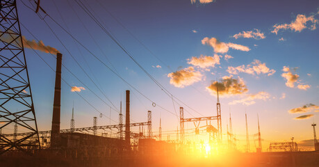 High-voltage power lines. Electricity distribution station. high voltage electric transmission...