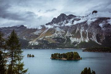 lake in the mountains, silsersee engadin st. moritz switzerland