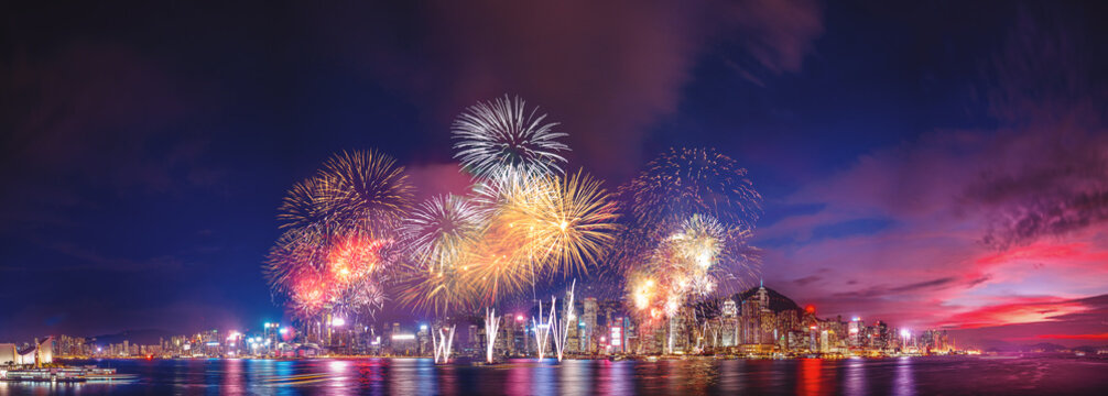 Panorama view of Hong Kong fireworks show in Victoria Harbor