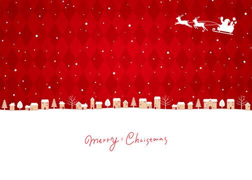 クリスマスの街並み赤背景、サンタクロースとトナカイのソリ